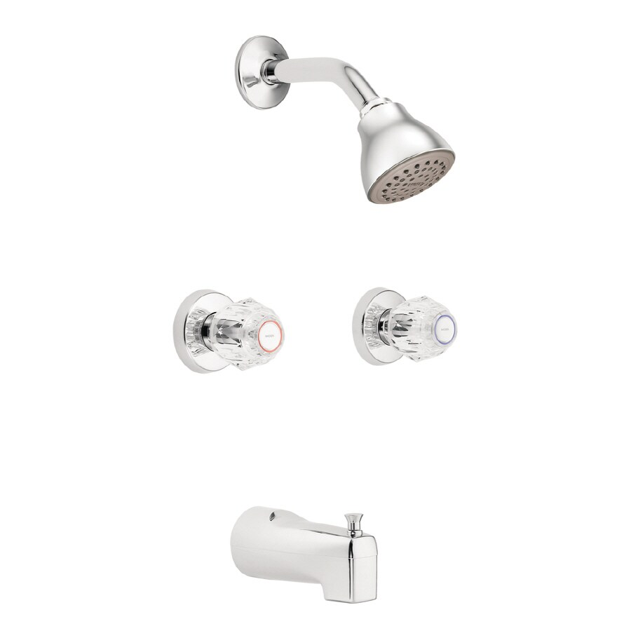 Moen Chateau Chrome 2-Handle Bathtub and Shower Faucet with Single Function Showerhead