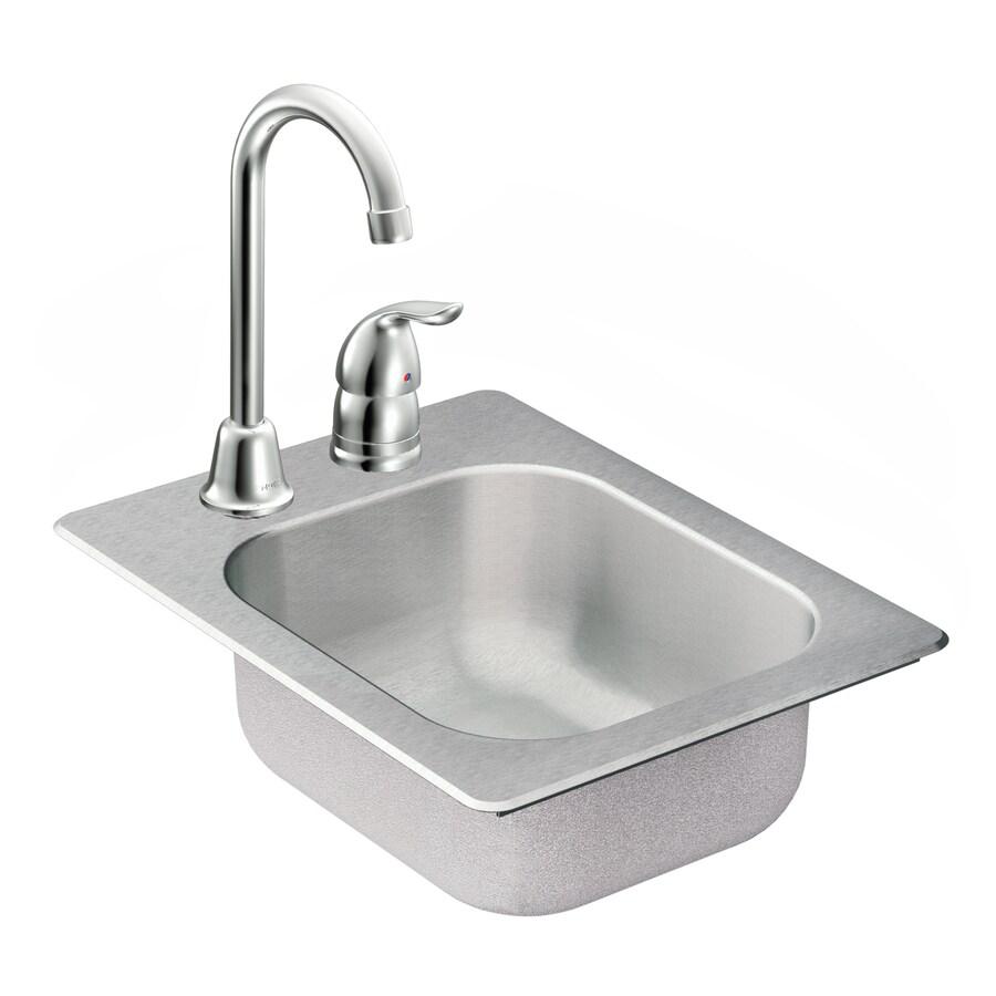 Moen Camelot 20-Gauge Single-Basin Drop-In Stainless Steel Bar Sink with Faucet