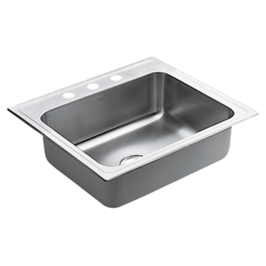 Moen Commercial 22-in x 25-in Stainless Steel Single-Basin Drop-in 3-Hole Kitchen Sink
