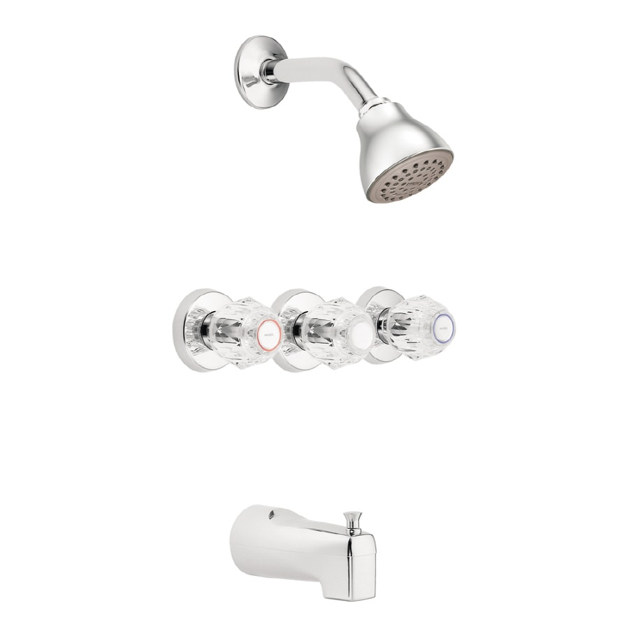 Moen Chateau Chrome 3-Handle Shower Faucet with Single Function Showerhead