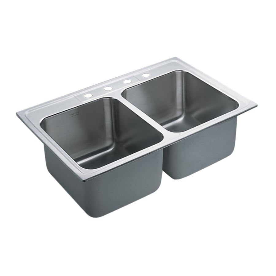 Moen Commercial 22-in x 33-in Stainless Steel Single-Basin-Basin Stainless Steel Drop-in 4-Hole Commercial Kitchen Sink