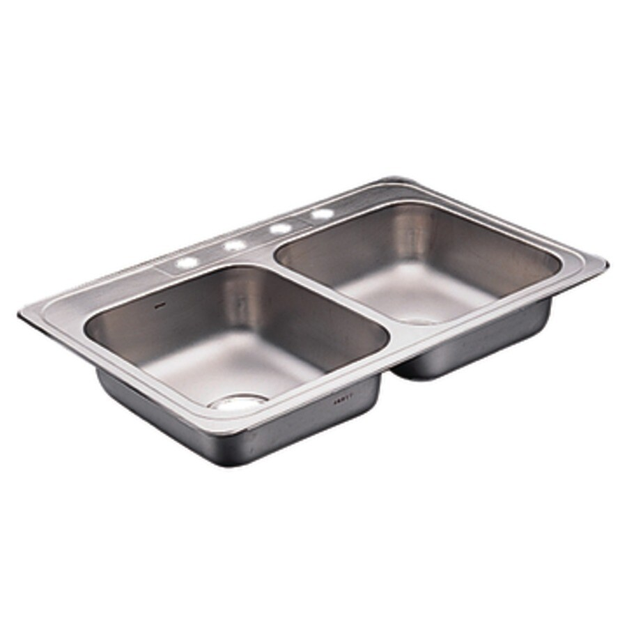 Moen Commercial 22-in x 33-in Stainless Steel Double-Basin Drop-in 4-Hole Kitchen Sink