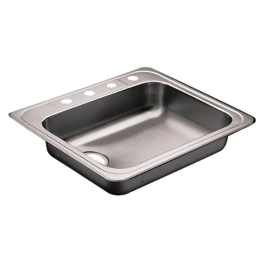 Moen Commercial 22-in x 25-in Stainless Steel Single-Basin Drop-in 4-Hole Kitchen Sink