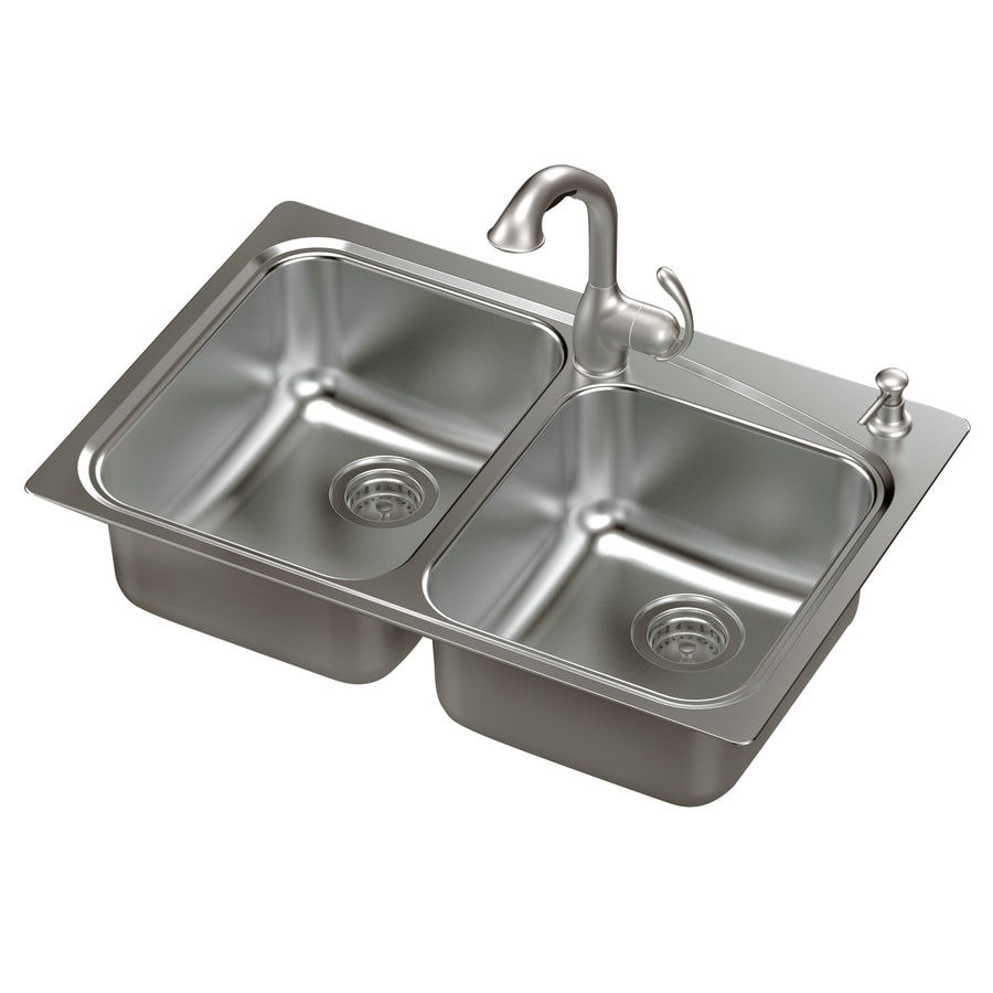 shop moen neva 22-in x 33-in double-basin stainless steel drop-in