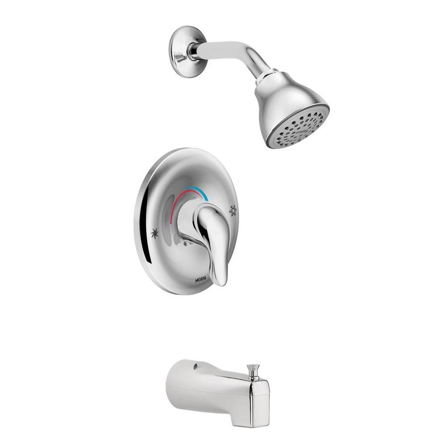 Shop Moen Chateau Chrome 1 Handle Bathtub And Shower Faucet With Single Function Showerhead At