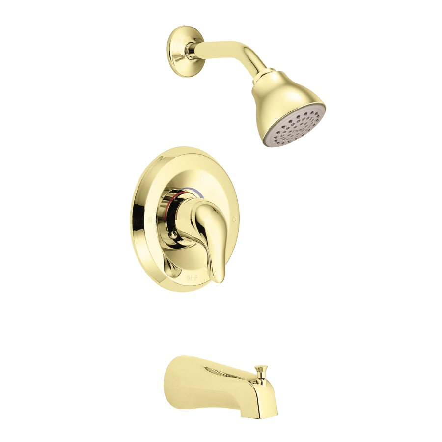 Moen Chateau Polished Brass 1-Handle Tub and Shower Valve Included with Single Function Showerhead