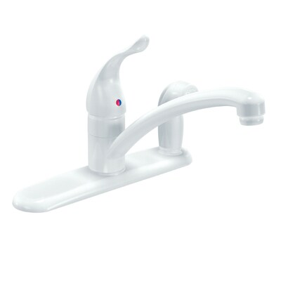 Moen Chateau White Single-Handle Kitchen Faucet with Side ...