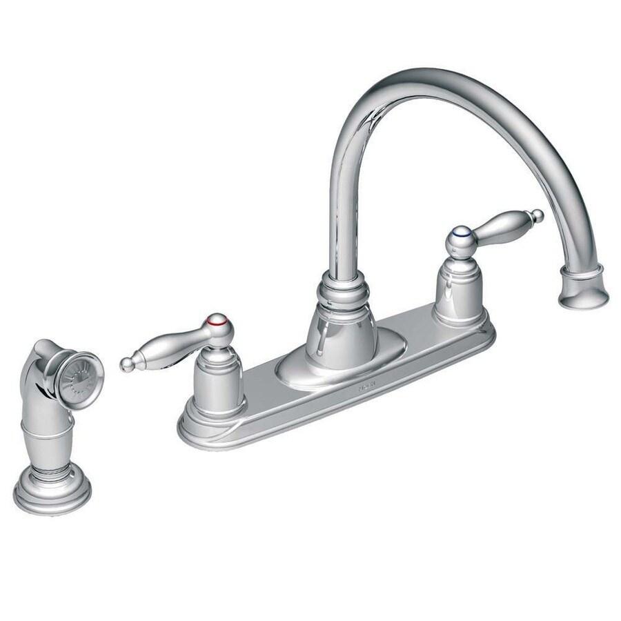 Shop Moen Castleby Chrome 2-Handle High-Arc Kitchen Faucet with Side ...