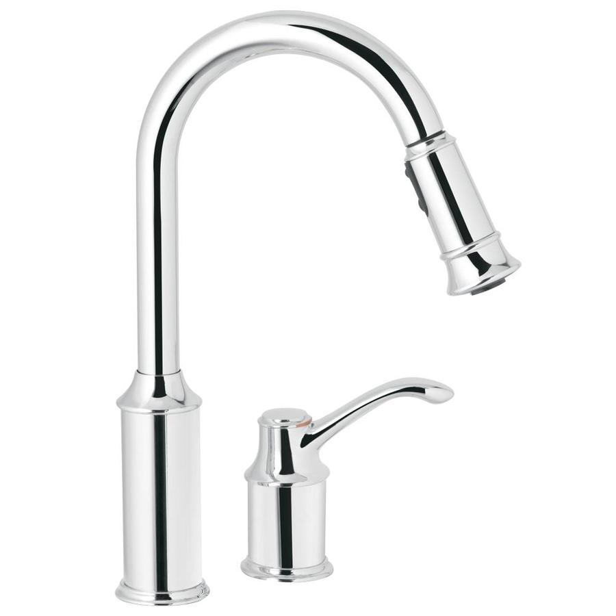 Moen Aberdeen Chrome 1-Handle Deck Mount Pull-Down Kitchen Faucet