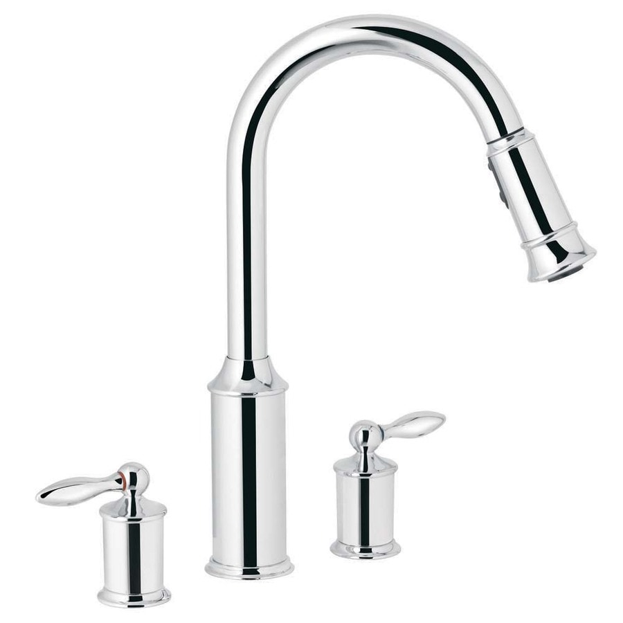 Moen Aberdeen Chrome 2 Handle Pull Down Kitchen Faucet In The Kitchen Faucets Department At Lowes Com