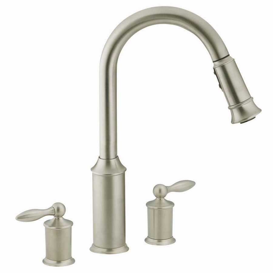 Moen Aberdeen Stainless 2 Handle Pull Down Deck Mount Kitchen Faucet