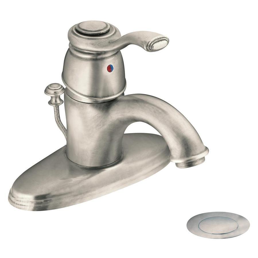 Moen Kingsley Antique Nickel 1-Handle Single Hole/4-in Centerset WaterSense Labeled Bathroom Sink Faucet (Drain Included)