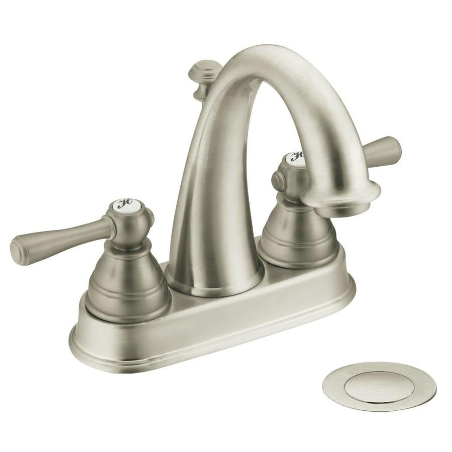 Moen Kingsley Brushed Nickel 2-Handle 4-in Centerset WaterSense Bathroom Faucet (Drain Included)