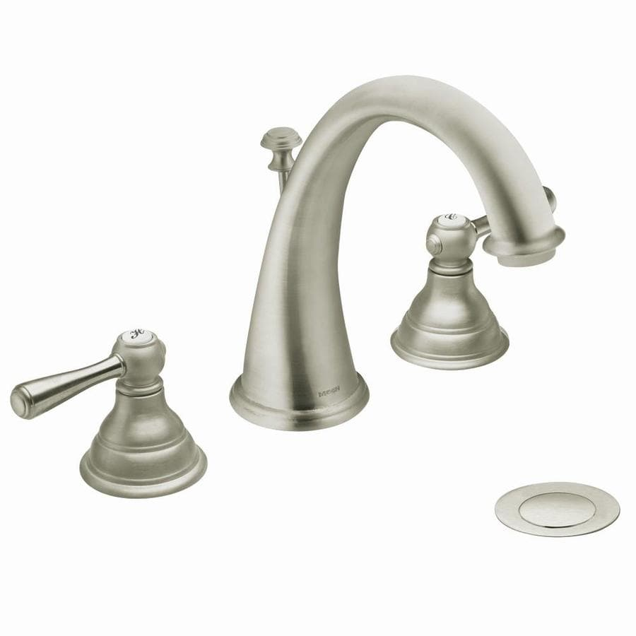 moen kitchen faucet brushed nickel shop moen kingsley brushed nickel 2 handle widespread bathroom sink faucet at lowes com 8157