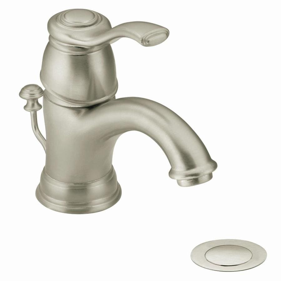 Moen Kingsley Brushed Nickel 1-Handle Single Hole/4-in Centerset WaterSense Bathroom Faucet (Drain Included)