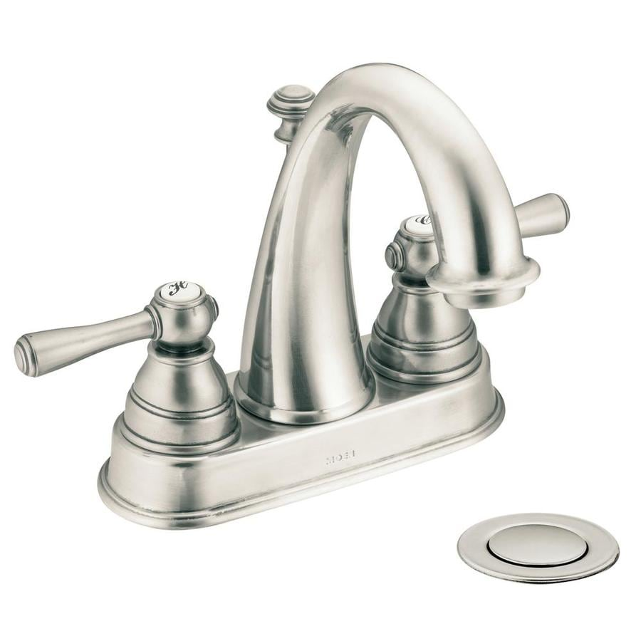 Moen Kingsley Antique Nickel 2-Handle 4-in Centerset WaterSense Bathroom Faucet (Drain Included)