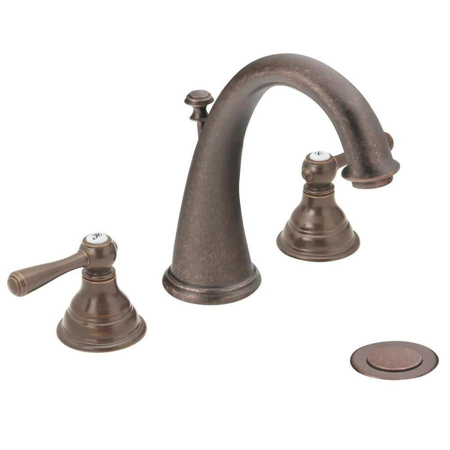 Shop moen kingsley oil rubbed bronze 2 handle widespread bathroom sink faucet at for Oil rubbed bronze bathroom faucets