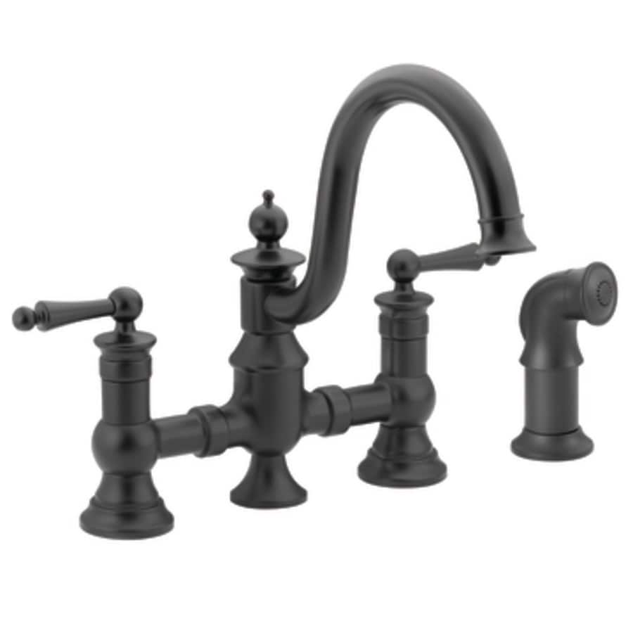 Moen Waterhill Wrought Iron 2-Handle High-Arc Kitchen Faucet with Side Spray