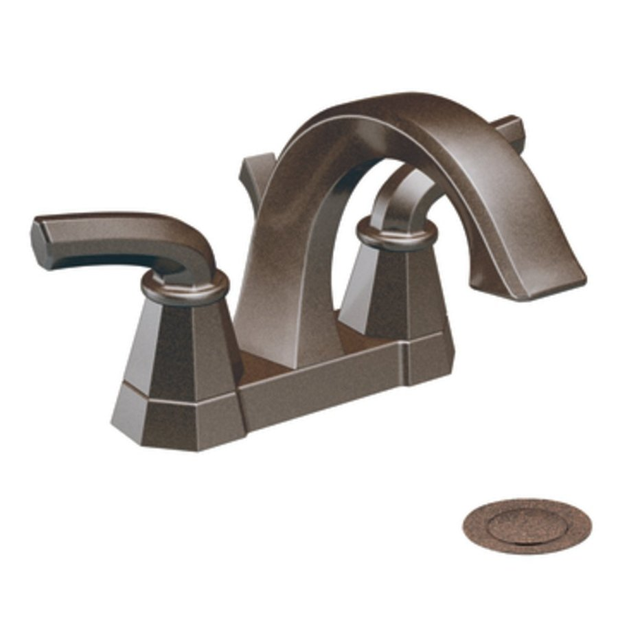 Moen Felicity Oil-Rubbed Bronze 2-Handle 4-in Centerset WaterSense Labeled Bathroom Sink Faucet (Drain Included)