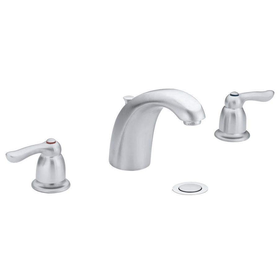 Moen Chateau Brushed Chrome 2-Handle Widespread WaterSense Bathroom Faucet (Drain Included)