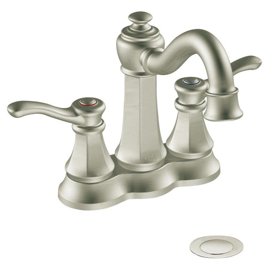 Moen Vestige Brushed Nickel 2-Handle 4-in Centerset WaterSense Bathroom Sink Faucet (Drain Included)