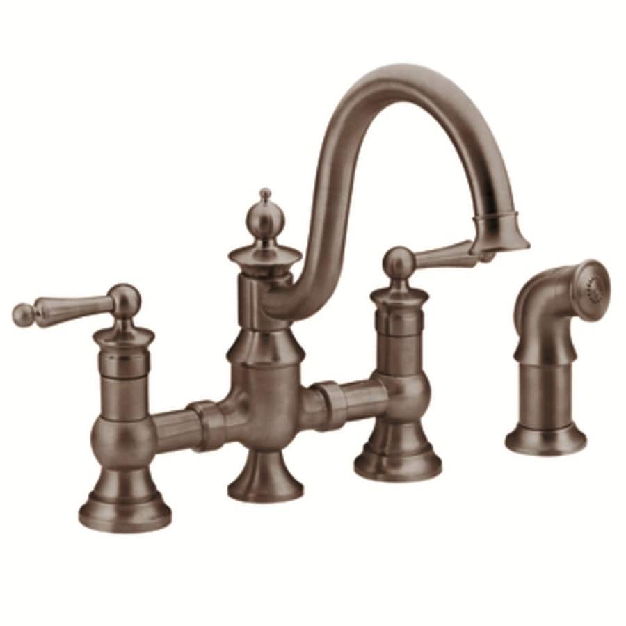 Moen Waterhill Oil-Rubbed Bronze 2-Handle Handle(S) Included High-Arc Sink/Counter Mount Traditional Kitchen Faucet Side Spray Included