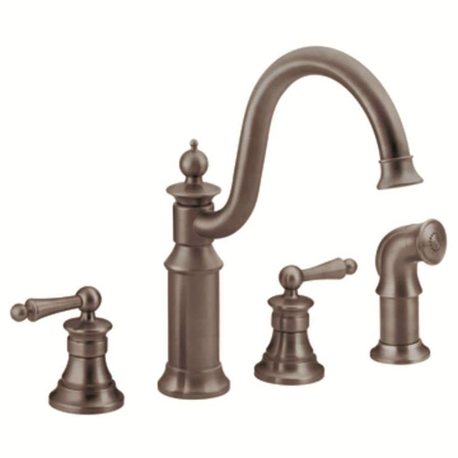 oil rubbed bronze faucet kitchen shop moen waterhill oil rubbed bronze 2 handle high arc kitchen faucet with side spray at lowes com 2189