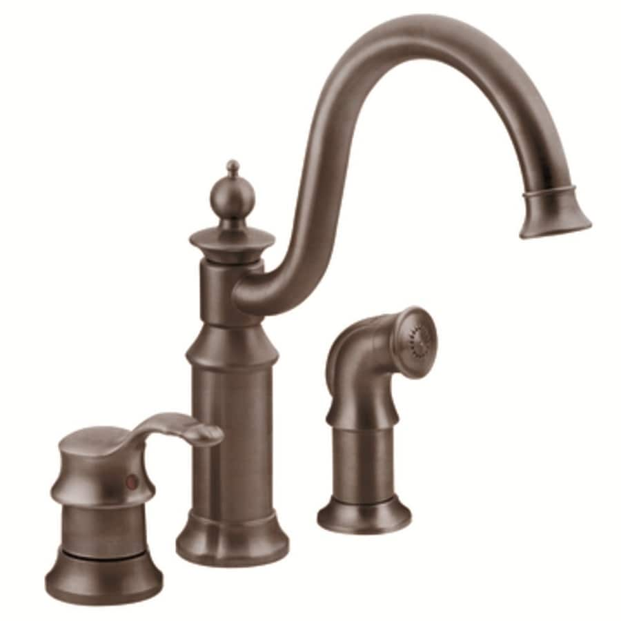 Moen Waterhill Oil-Rubbed Bronze 1-Handle High-Arc Kitchen Faucet with Side Spray