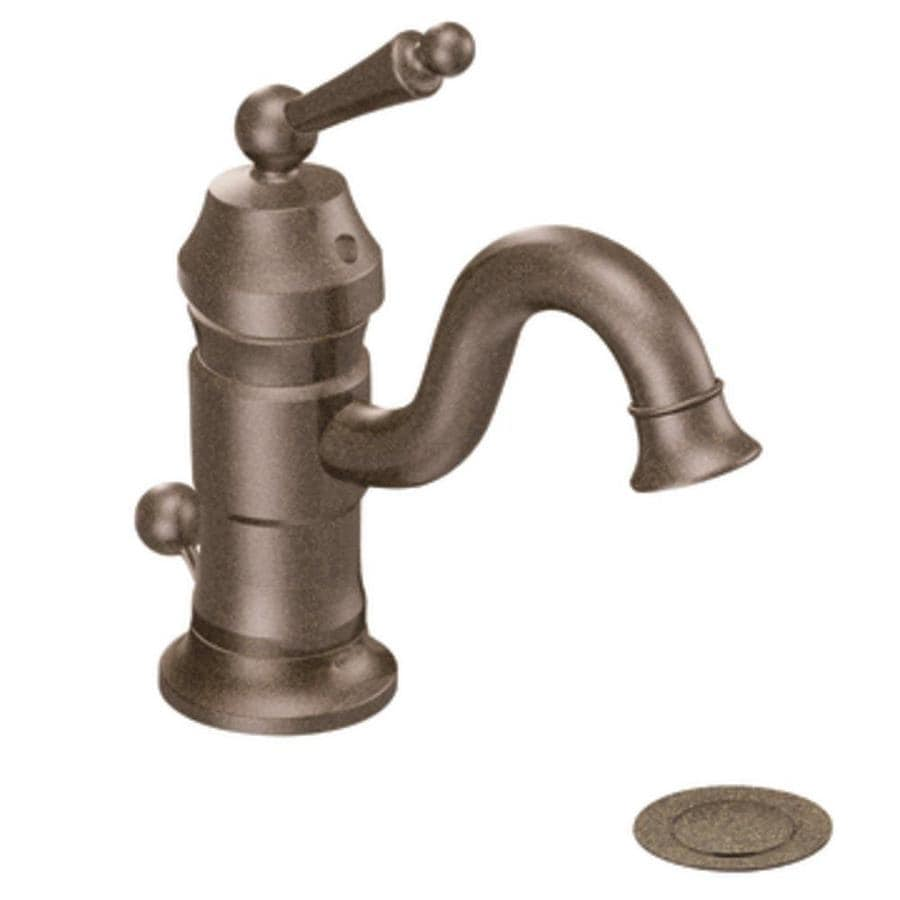 Moen Waterhill Oil-Rubbed Bronze 1-Handle Single Hole WaterSense Bathroom Faucet (Drain Included)