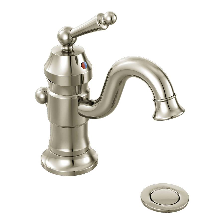 Moen Waterhill Nickel 1-Handle Single Hole WaterSense Bathroom Faucet (Drain Included)