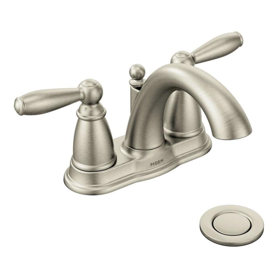 Moen Brantford Brushed Nickel 2-Handle 4-in Centerset WaterSense Bathroom Faucet (Drain Included)