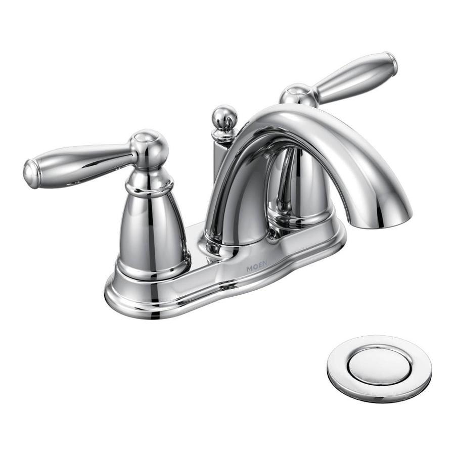 Moen Brantford Chrome 2-Handle 4-in Centerset WaterSense Bathroom Faucet (Drain Included)