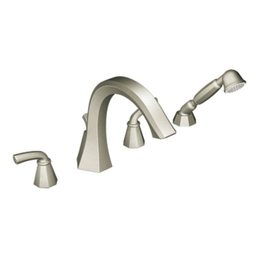 Moen Felicity Brushed Nickel 2-Handle Adjustable Deck Mount Bathtub Faucet