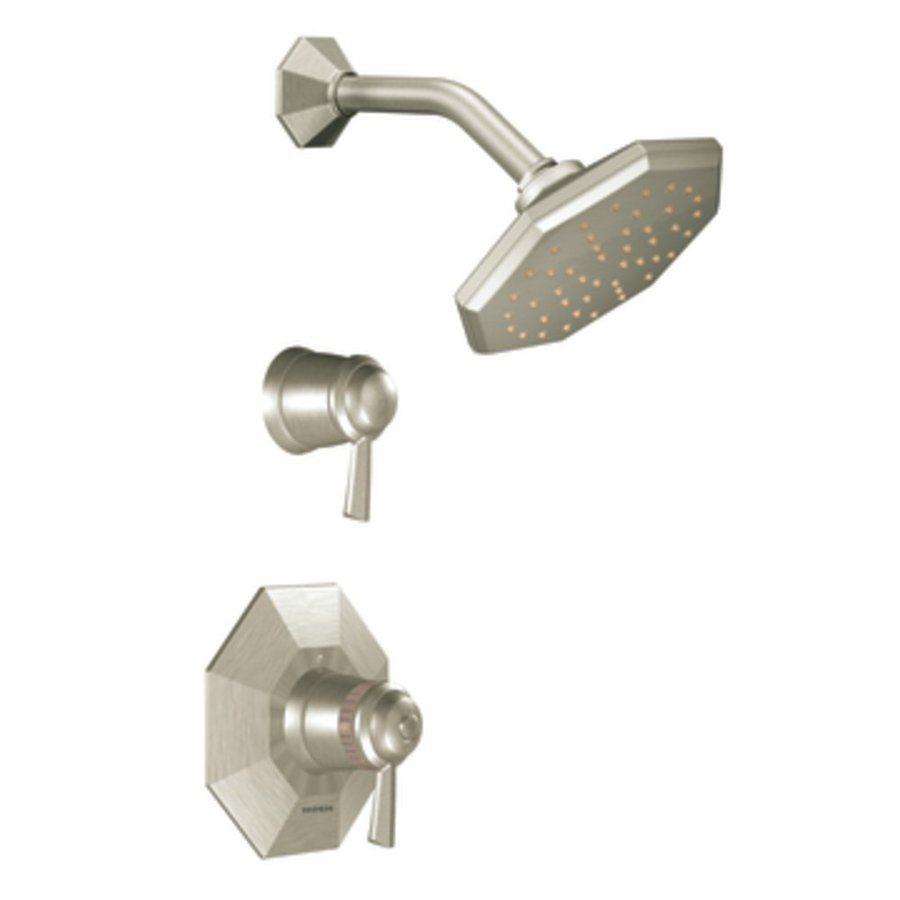 Moen Felicity Brushed Nickel 2-Handle Shower Faucet Trim Kit with Rain Showerhead