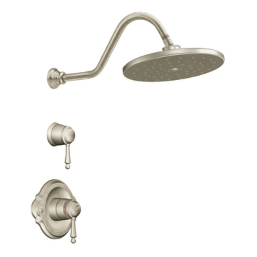 Moen Waterhill Brushed Nickel 1-Handle Shower Faucet Trim Kit with Rain Showerhead