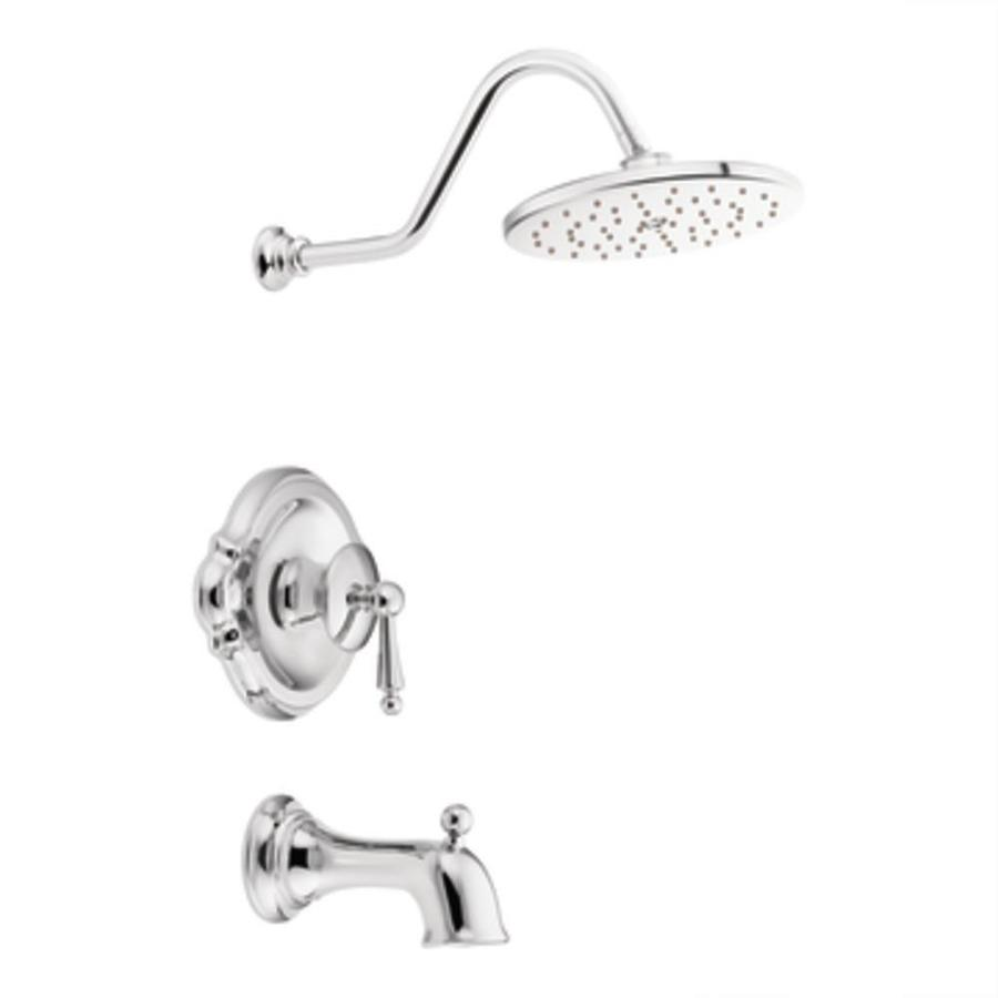 Moen Waterhill Chrome 1-Handle Bathtub and Shower Faucet Trim Kit with Single Function Showerhead