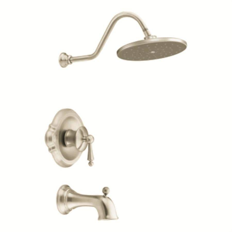 Moen Waterhill Brushed Nickel 1-Handle Bathtub and Shower Faucet with Rain Showerhead