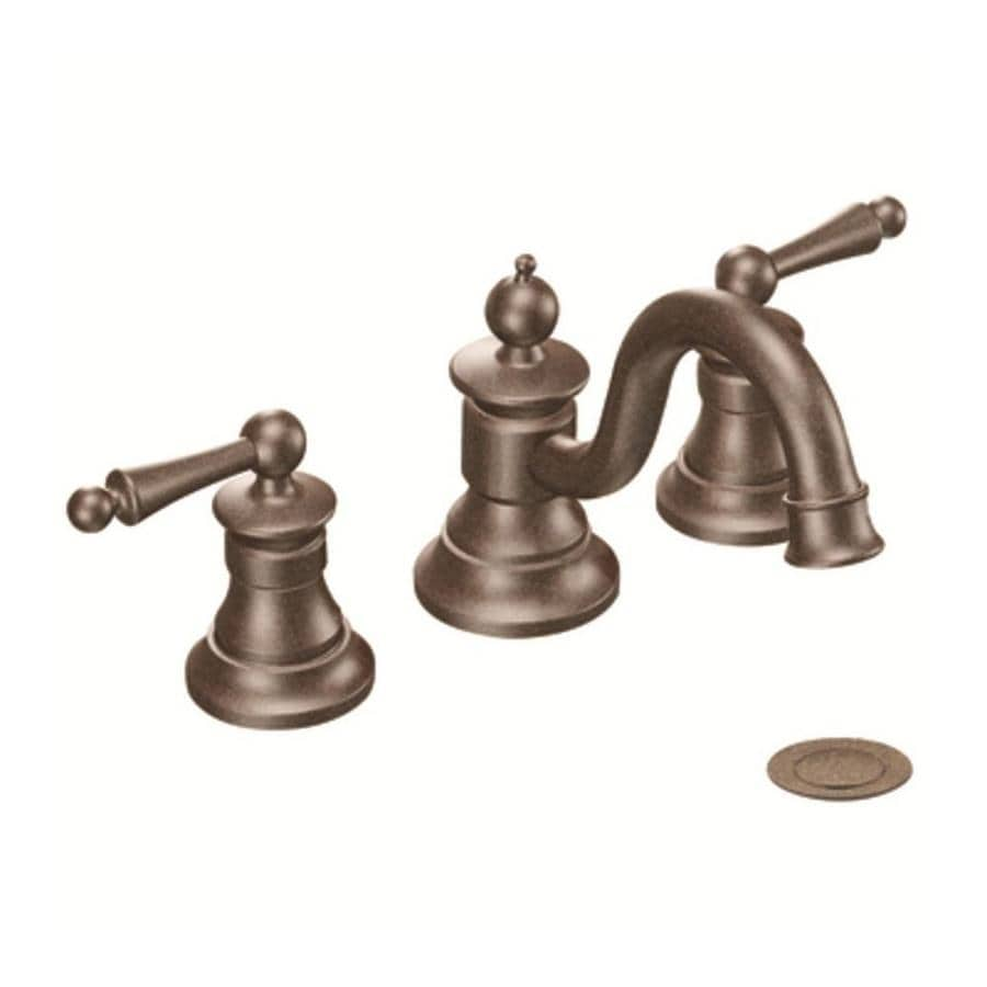 Shop moen waterhill oil rubbed bronze 2 handle widespread bathroom sink faucet at for Oil rubbed bronze bathroom faucets