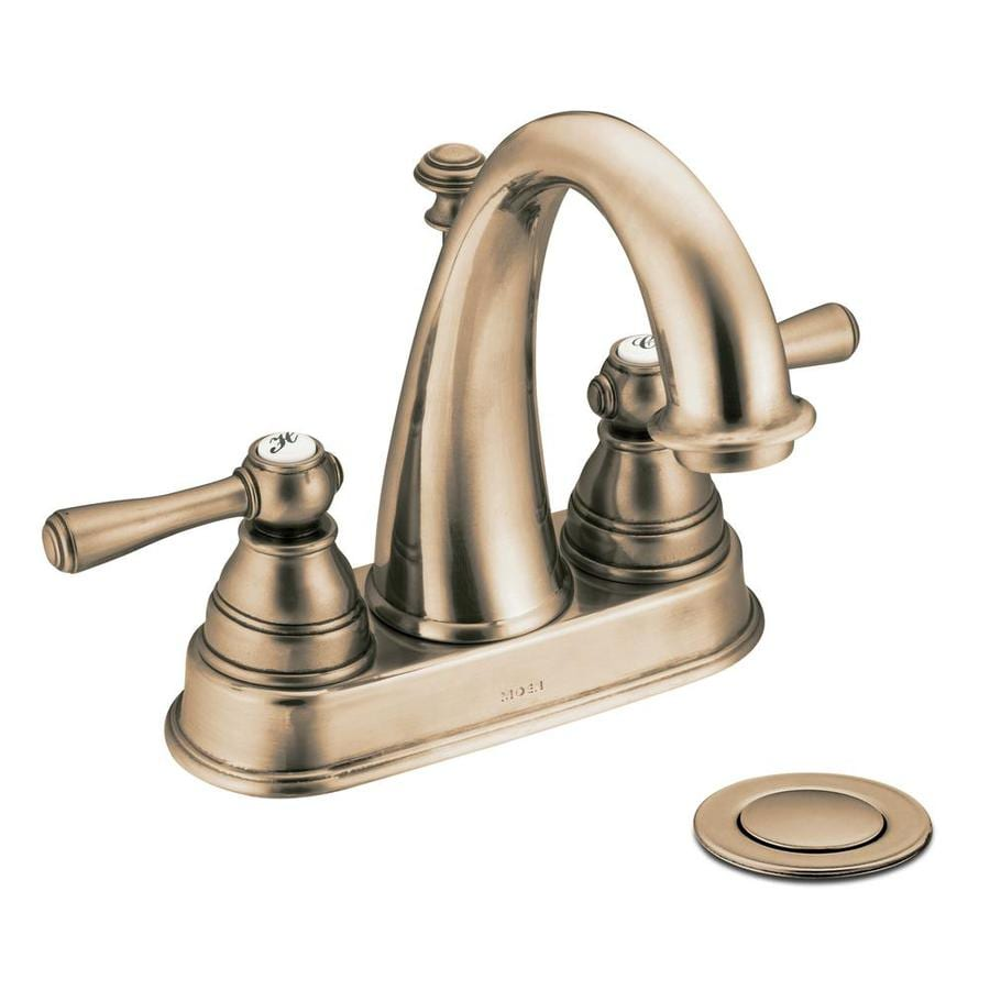 Moen Kingsley Antique Bronze 2-Handle 4-in Centerset WaterSense Bathroom Faucet (Drain Included)