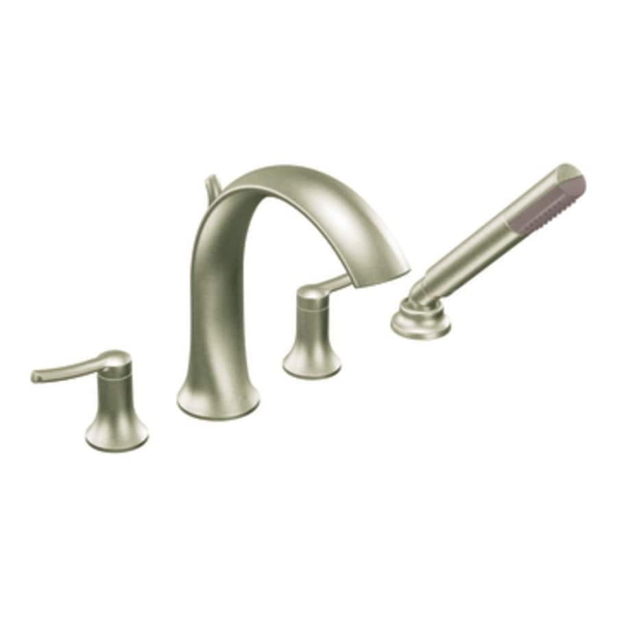 Moen Fina Brushed Nickel 2-Handle Adjustable Deck Mount Bathtub Faucet