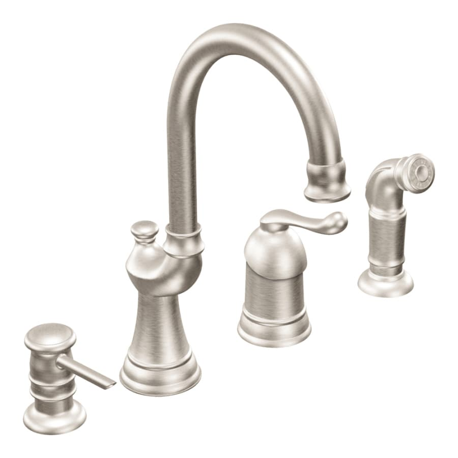 Superior Moen Muirfield Kitchen Faucet #6: Moen Muirfield Classic Stainless 1-Handle High-Arc Kitchen Faucet With Side  Spray