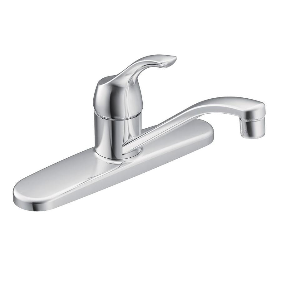 Shop Moen Adler Chrome Handle Lowarc Deck Mount Kitchen Faucet - Low arc kitchen faucet