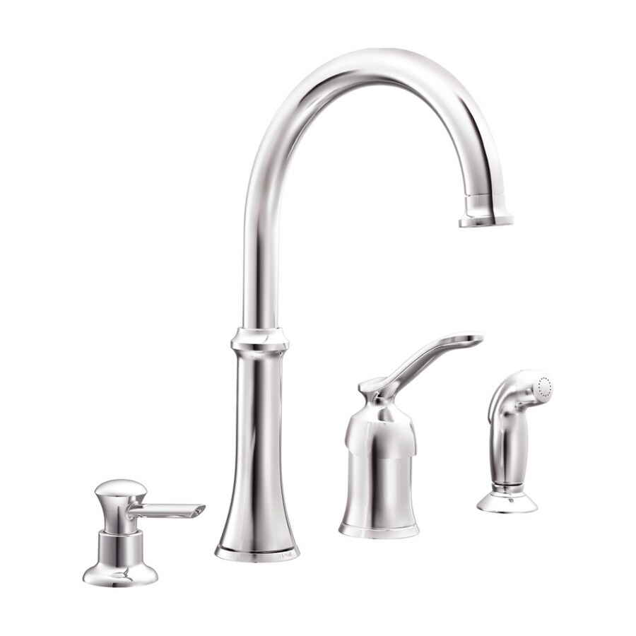 Shop Moen Quinn Chrome Single-Handle Kitchen Faucet with Side Spray ...