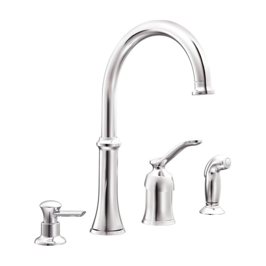 moen quinn chrome single handle kitchen faucet with side spray at rh lowes com