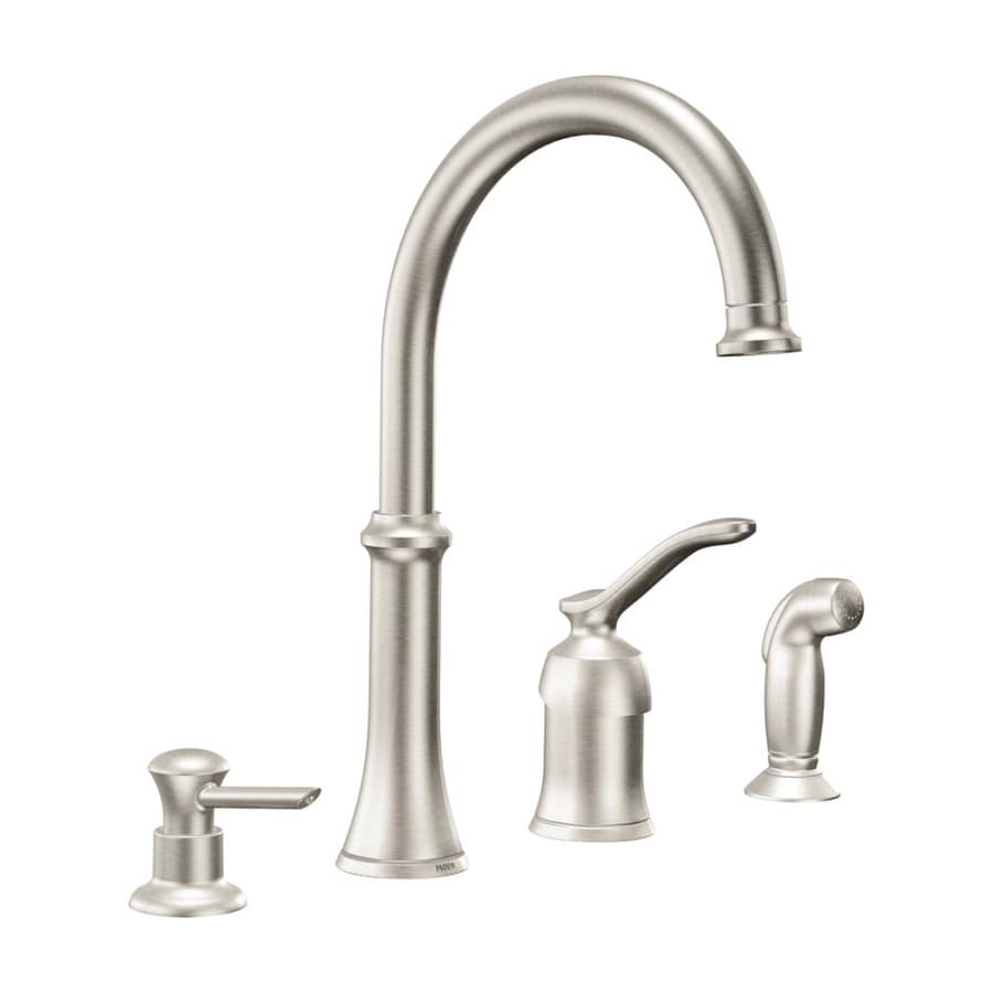 moen quinn stainless steel single handle kitchen faucet with side rh lowes com