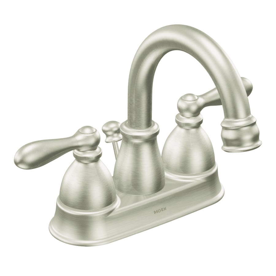 Moen Caldwell Brushed Nickel 2-Handle 4-in Centerset WaterSense Bathroom Faucet (Drain Included)