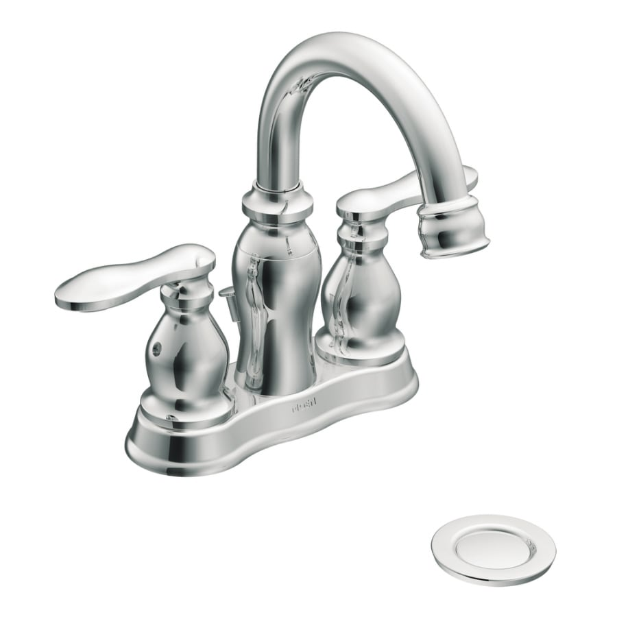 Moen Caldwell Chrome 2-Handle 4-in Centerset WaterSense Bathroom Faucet (Drain Included)