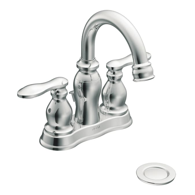 Moen Caldwell Chrome 2 Handle 4 In Centerset Watersense Bathroom Faucet Drain Included In The Bathroom Sink Faucets Department At Lowes Com