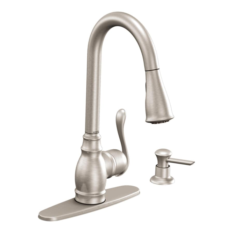 Beau Moen Anabelle Stainless Steel 1 Handle Pull Down Deck Mount Kitchen Faucet
