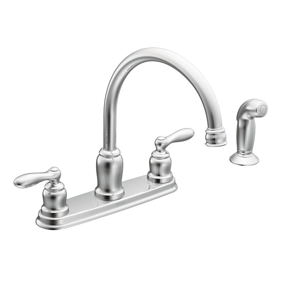 Moen kitchen faucet high flow rate - Moen Caldwell Chrome 2 Handle High Arc Deck Mount Kitchen Faucet